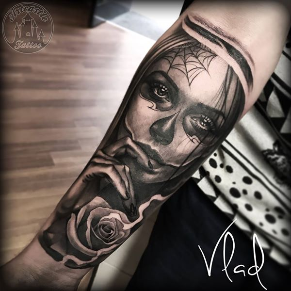 ArtCastleTattoo Tattoo ArtiestVlad Day of the Dead portrait tattoo Dia de los Muertos on arm Black n Grey