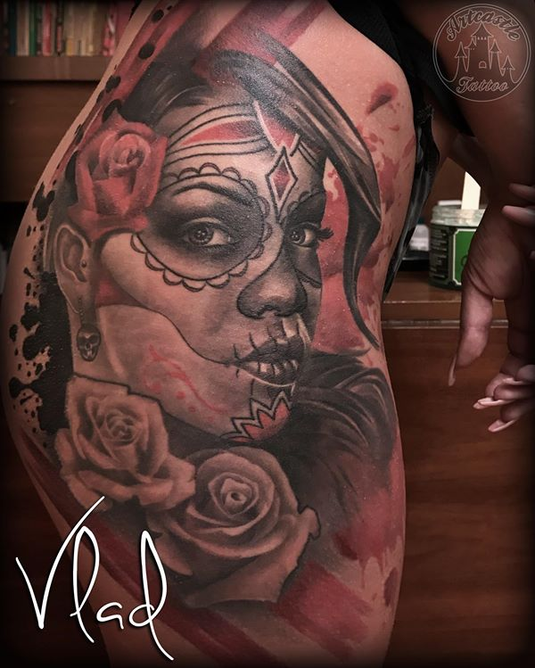 ArtCastleTattoo Tattoo ArtiestVlad Realistic Rihanna portrait tattoo day of the dead girl with roses on hip Black n Grey