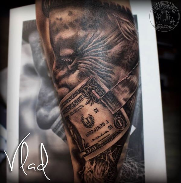 ArtCastleTattoo Tattoo ArtiestVlad Realistic portrait tattoo with american dollar in black n grey Black n Grey
