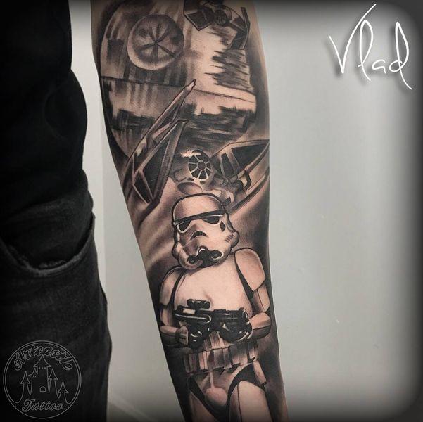 ArtCastleTattoo Tattoo ArtiestVlad storm trooper starways on lower arm black n grey